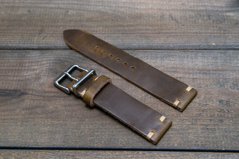Olive Chromexcel leather watch strap, handmade in Finland - 16mm, 17 mm, 18mm, 19mm, 20mm, 21 mm, 22mm, 23 mm, 24mm. - finwatchstraps