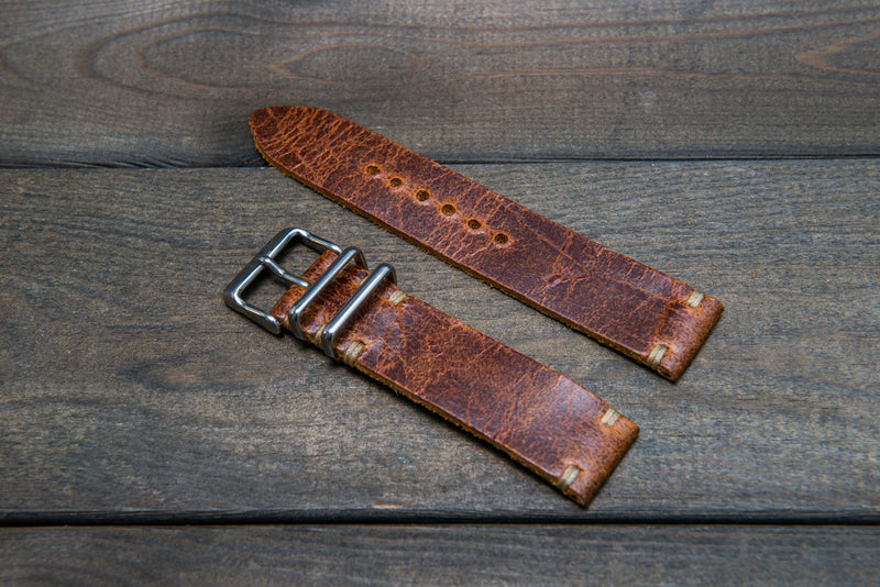 Suede vintage leather watch strap (Crazy cow), handmade in Finland - 16mm, 17 mm, 18mm, 19 mm, 20mm, 21mm, 22mm, 23 mm,  24mm.