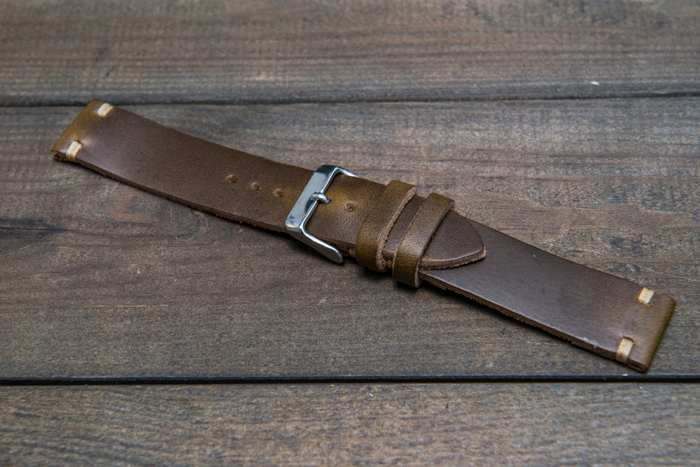 Olive Chromexcel leather watch strap, handmade in Finland - 10mm, 12 mm, 14 mm, 16mm, 17 mm, 18mm, 19mm, 20mm, 21 mm, 22mm, 23 mm, 24mm, 25 mm, 26 mm. - finwatchstraps
