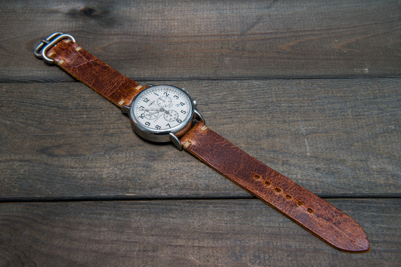 Suede vintage leather watch strap (Crazy cow, Cognac),Zulu buckle, handmade in Finland