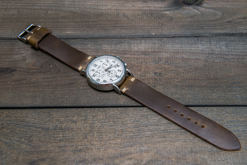 Horween Olive Chromexcel leather watch strap, handmade in Finland
