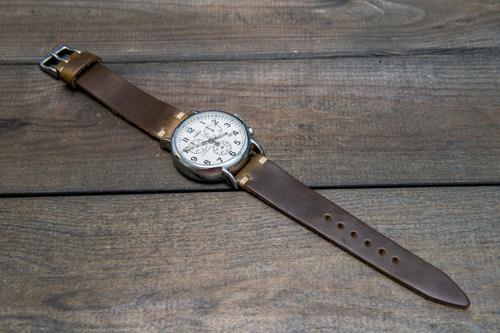 Olive Chromexcel leather watch strap, handmade in Finland - 16mm, 17 mm, 18mm, 19mm, 20mm, 21 mm, 22mm, 23 mm, 24mm.