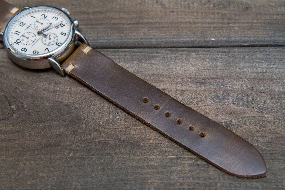 Horween Olive Chromexcel leather watch strap, handmade in Finland - finwatchstraps