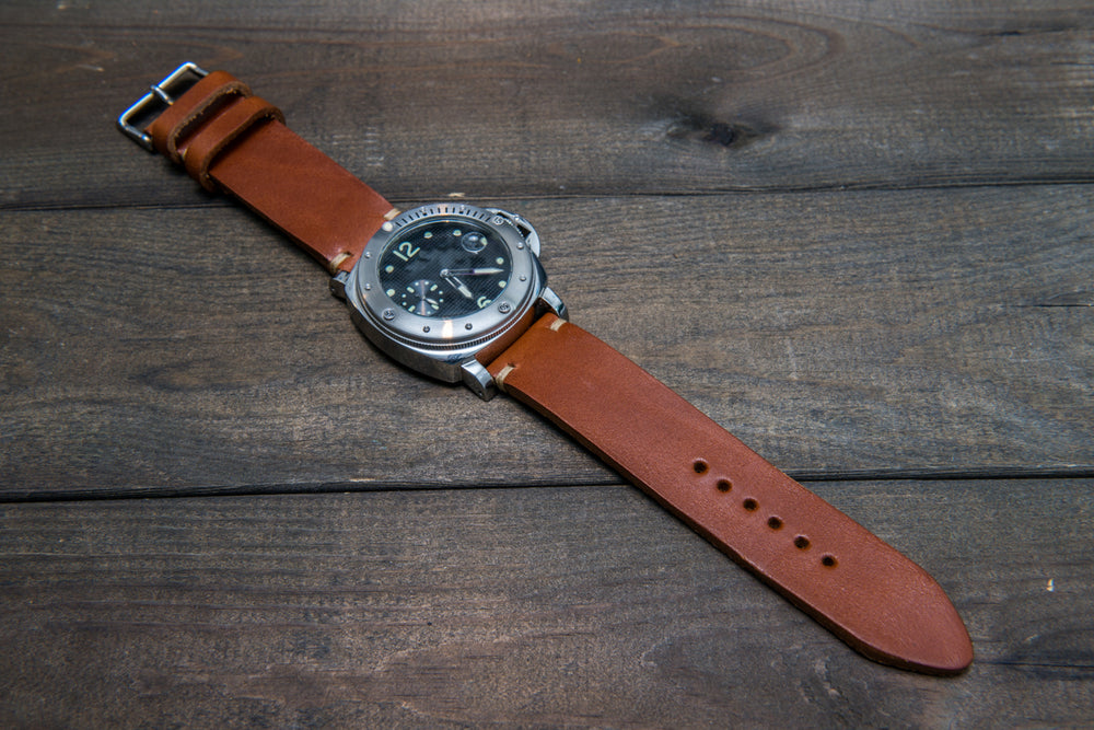 Italian bull leather watch strap 4 mm thick, Toro Bull Cognac, handmade in Finland -  16mm, 17 mm, 18mm, 19 mm, 20mm, 21mm, 22mm, 23 mm, 24mm, 25 mm, 26 mm. - finwatchstraps