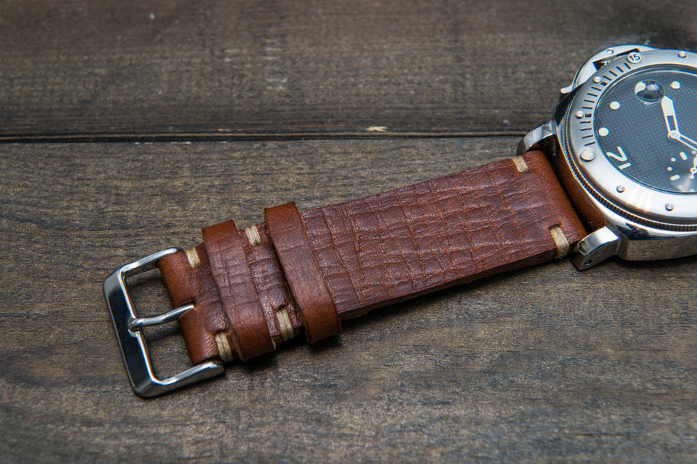Italian bull leather watch strap 4 mm thick, Torre Cognac, handmade in Finland -  16mm, 17 mm, 18mm, 19 mm, 20mm, 21mm, 22mm, 23 mm, 24mm, 25 mm, 26 mm.