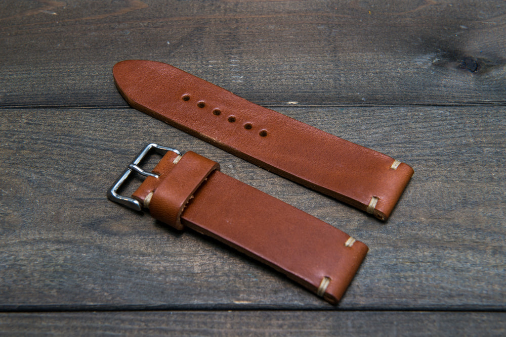 Italian bull leather watch strap 4 mm thick, Toro Bull Cognac, handmade in Finland -  16mm, 17 mm, 18mm, 19 mm, 20mm, 21mm, 22mm, 23 mm, 24mm, 25 mm, 26 mm.