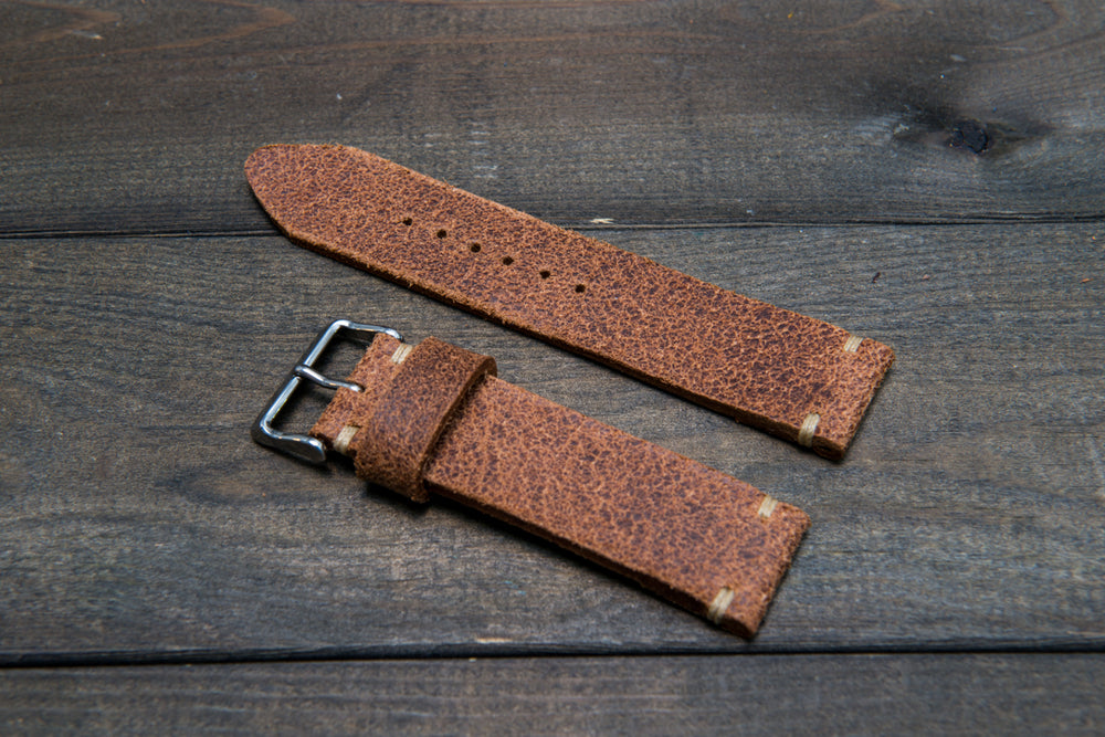 Italian bull leather watch strap 4 mm thick, Rustic Cognac Oily , handmade in Finland -  16mm, 17 mm, 18mm, 19 mm, 20mm, 21mm, 22mm, 23 mm, 24mm, 25 mm, 26 mm. - finwatchstraps