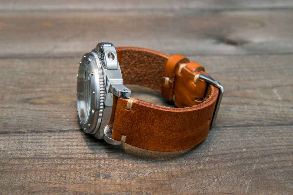 Italian bull leather watch strap 4 mm thick, Cognac Oily , handmade in Finland -  16mm, 17 mm, 18mm, 19 mm, 20mm, 21mm, 22mm, 23 mm, 24mm, 25 mm, 26 mm. - finwatchstraps