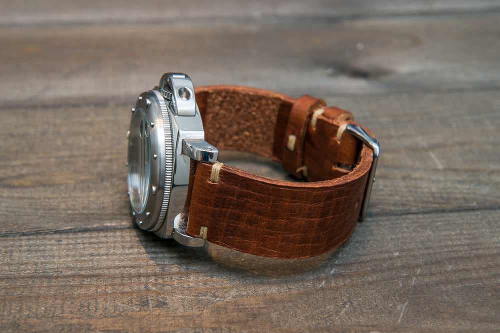 Italian bull leather watch strap 4 mm thick, Torre Cognac, handmade in Finland -  16mm, 17 mm, 18mm, 19 mm, 20mm, 21mm, 22mm, 23 mm, 24mm, 25 mm, 26 mm. - finwatchstraps