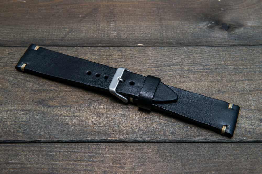 Italian bull  tapered leather watch strap 4 mm thick, Black Oily, handmade in Finland -  16mm, 17 mm, 18mm, 19 mm, 20mm, 21mm, 22mm, 23 mm, 24mm, 25 mm, 26 mm. - finwatchstraps