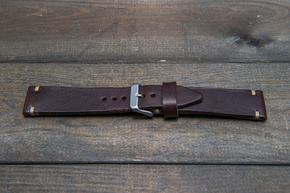 Italian bull tapered leather watch strap 4 mm thick, Brown Castagna Oily, handmade in Finland -  16mm, 17 mm, 18mm, 19 mm, 20mm, 21mm, 22mm, 23 mm, 24mm, 25 mm, 26 mm. - finwatchstraps