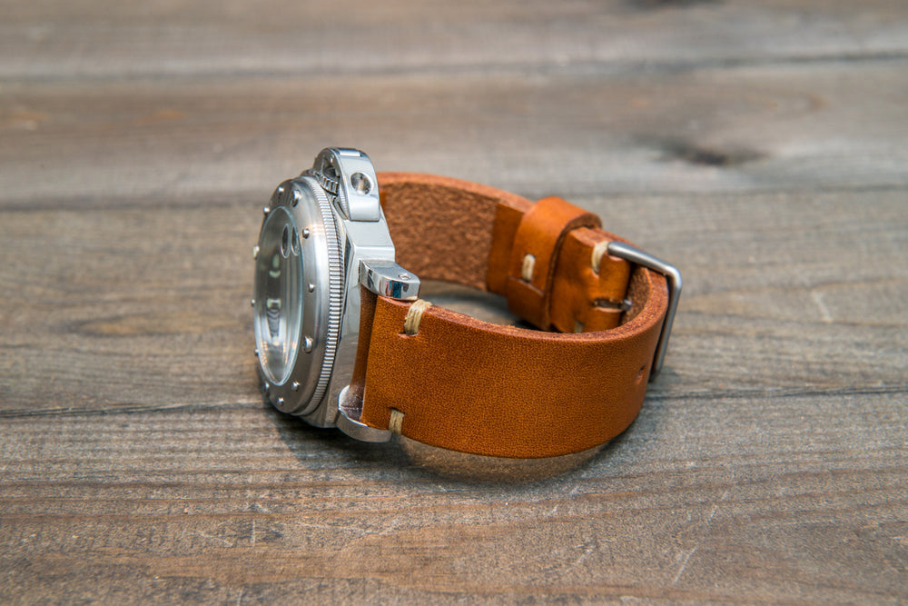 Italian bull tapered leather watch strap 4 mm thick, Cognac Oily, handmade in Finland -  16mm, 17 mm, 18mm, 19 mm, 20mm, 21mm, 22mm, 23 mm, 24mm, 25 mm, 26 mm. - finwatchstraps