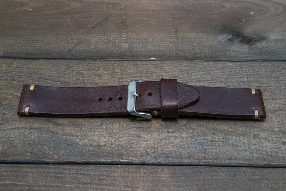 Italian bull leather watch strap 4 mm thick, Oily Brown Castagna, handmade in Finland -  16mm, 17 mm, 18mm, 19 mm, 20mm, 21mm, 22mm, 23 mm, 24mm, 25 mm, 26 mm.
