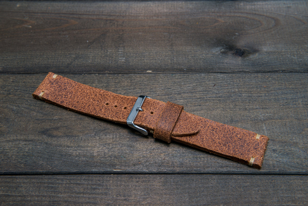 Italian bull leather watch strap 4 mm thick, Rustic Cognac Oily , handmade in Finland -  16mm, 17 mm, 18mm, 19 mm, 20mm, 21mm, 22mm, 23 mm, 24mm, 25 mm, 26 mm.
