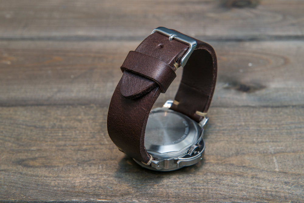 Italian bull leather watch strap 4 mm thick, Oily Brown Castagna, handmade in Finland -  16mm, 17 mm, 18mm, 19 mm, 20mm, 21mm, 22mm, 23 mm, 24mm, 25 mm, 26 mm. - finwatchstraps