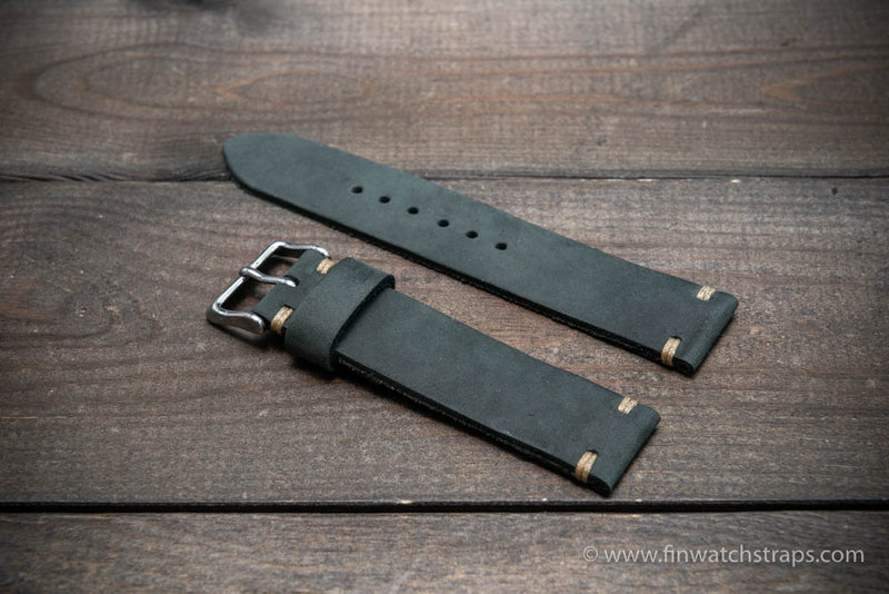 Leather watch strap, Horween Dusty Grey, handmade in Finland