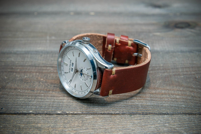 Tan Horween  Chxl, horsebutt, leather watch strap, handmade in Finland 10-26 mm