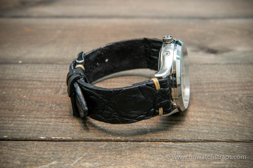 Alligator watch strap black matte, handmade in Finland