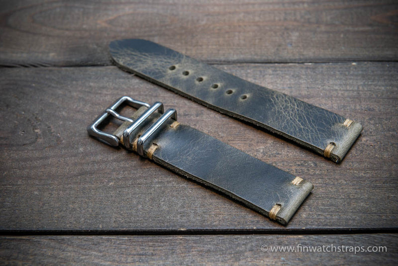 Leather watch strap, Badalassi wax grey. Hand-made to order in Finland.