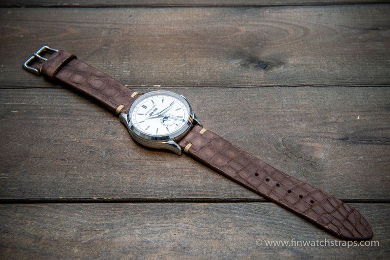 Alligator watch strap vintage brown matte, handmade in Finland