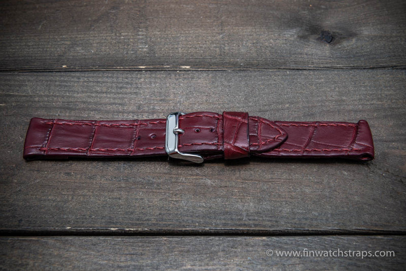 Alligator watch strap Burgundy matte, handmade in Finland