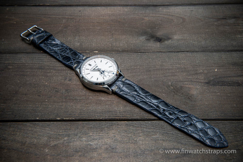 Alligator watch strap, navy blue, handmade in Finland