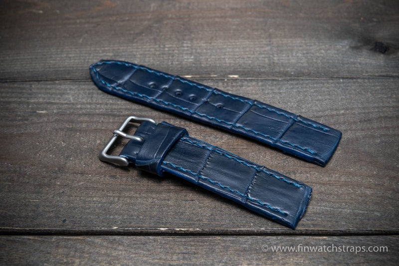 Alligator watch strap Dark blue matte, handmade in Finland