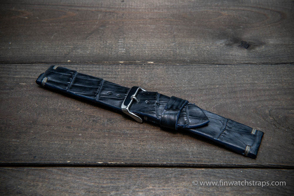 Alligator watch strap navy blue matte, handmade in Finland