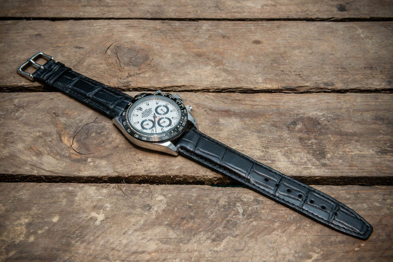 Black alligator watch strap 20x18 mm, 120-75 mm.