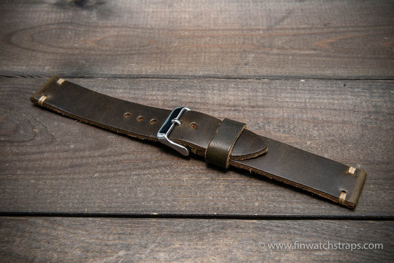 Horween Dublin Olive leather watch strap, 10 mm-26 mm, handmade in Finland