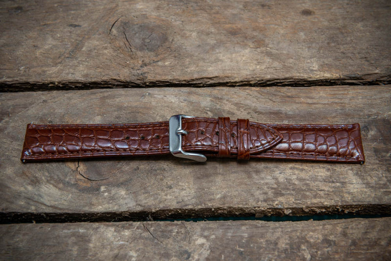 Brown alligator watch strap 20x18 mm, 120-75 mm.