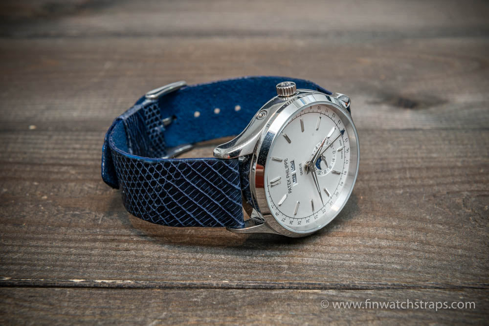 Lizard leather watch strap, Dark blue color