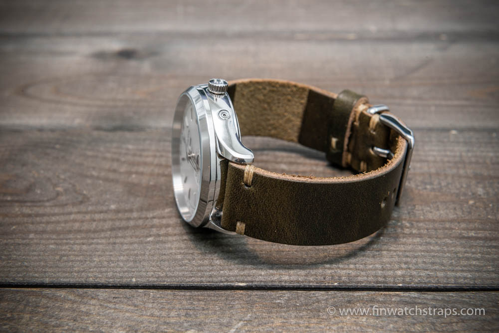 Horween Dublin Olive leather watch strap, 16 mm-26 mm, handmade in Finland