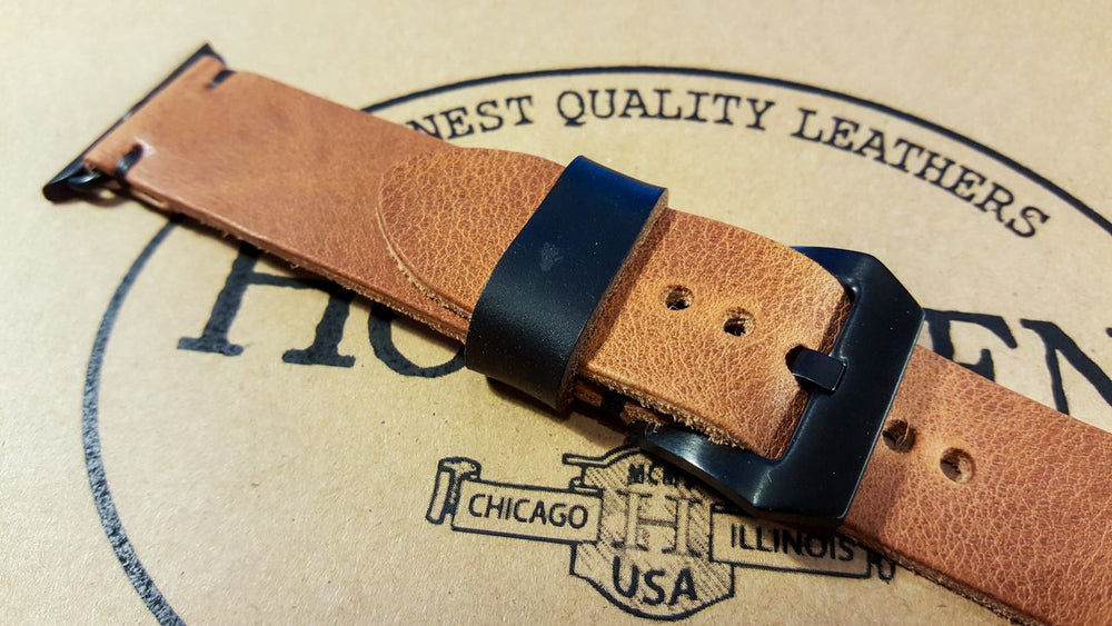 Apple Watch band Horween Derby English Tan 38mm, 42 mm - finwatchstraps