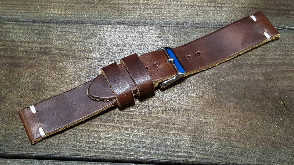 Dark Brown Horween leather watch strap, handmade in Finland - 16mm, 17 mm, 18mm, 19 mm, 20mm, 21 mm, 22mm, 23 mm, 24mm, 25 mm, 26mm. - finwatchstraps