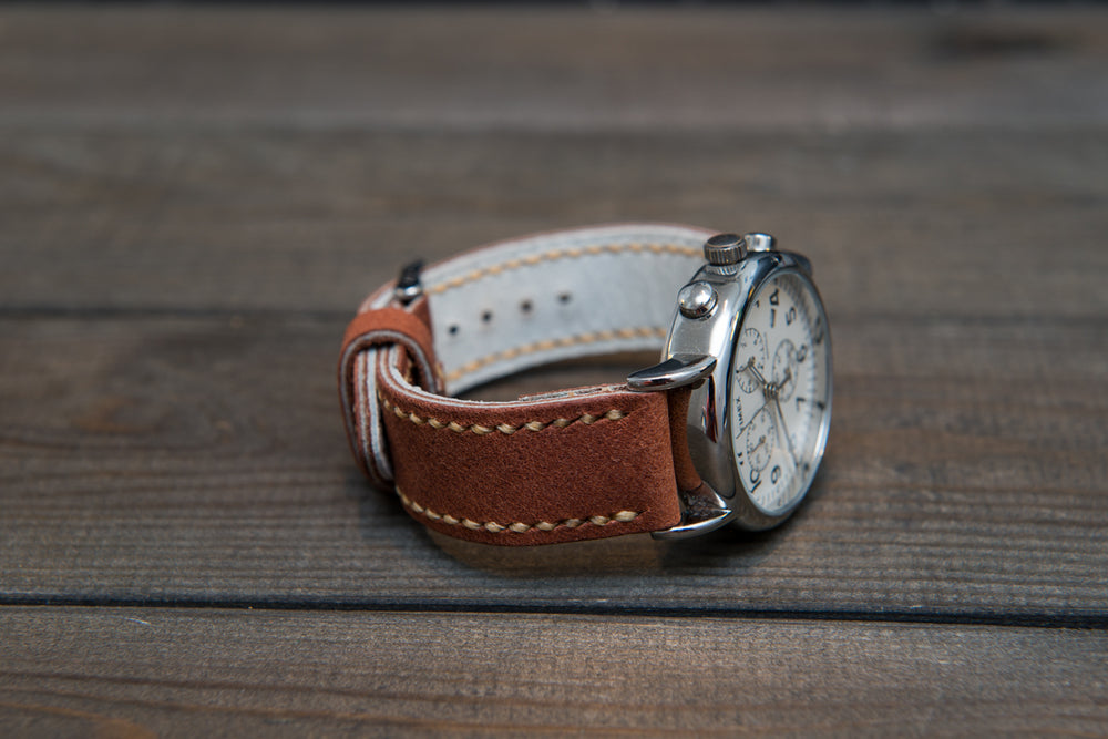 Horween Chestnut Outland Waterproof  leather, hand stitched watch band,  handmade in Finland - 18mm, 19 mm, 20mm, 21 mm, 22mm, 23 mm, 24mm, 25 mm, 26 mm. - finwatchstraps