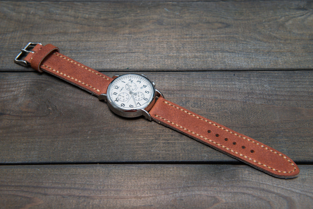 Horween Chestnut Outland Waterproof  leather, hand stitched watch band,  handmade in Finland - 18mm, 19 mm, 20mm, 21 mm, 22mm, 23 mm, 24mm, 25 mm, 26 mm.