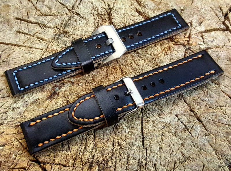 Black leather watch strap, hand stitched,  handmade in Finland - 18mm, 19 mm, 20mm, 21 mm, 22mm, 23 mm, 24mm, 25 mm, 26 mm.