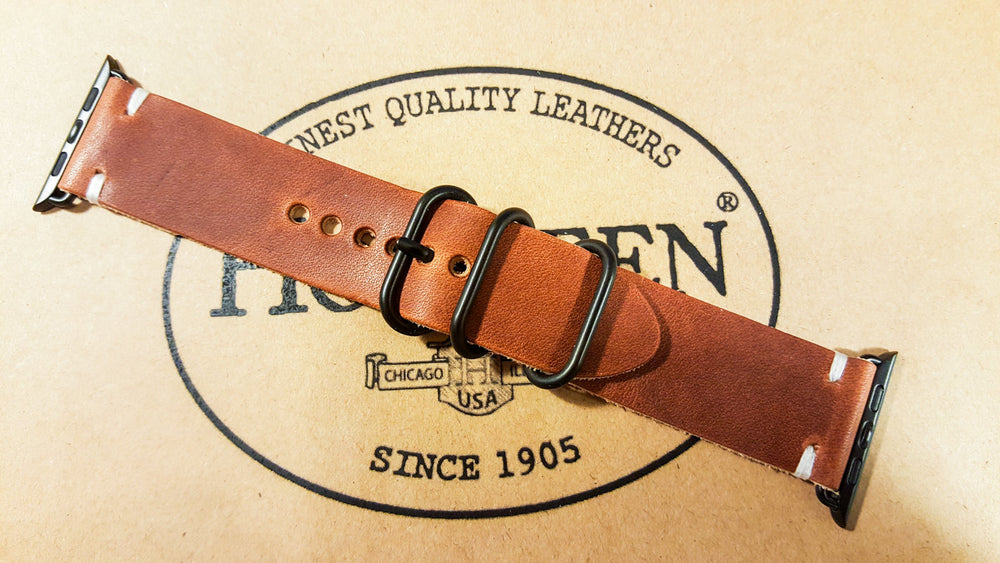 Apple Watch 2,3,4,5 leather band 38mm, 40 mm, 42mm, 44 mm. Horween Dublin Cognac for iWatch - finwatchstraps