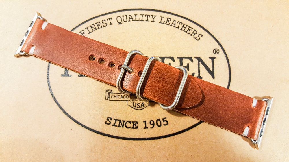 Apple Watch leather band 38mm / 42mm. Horween Dublin Cognac for iWatch - finwatchstraps