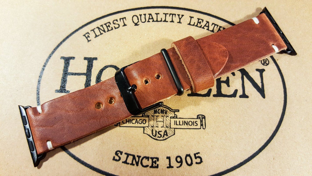 Apple Watch series 3,4,5 leather band, Dublin Cognac - finwatchstraps