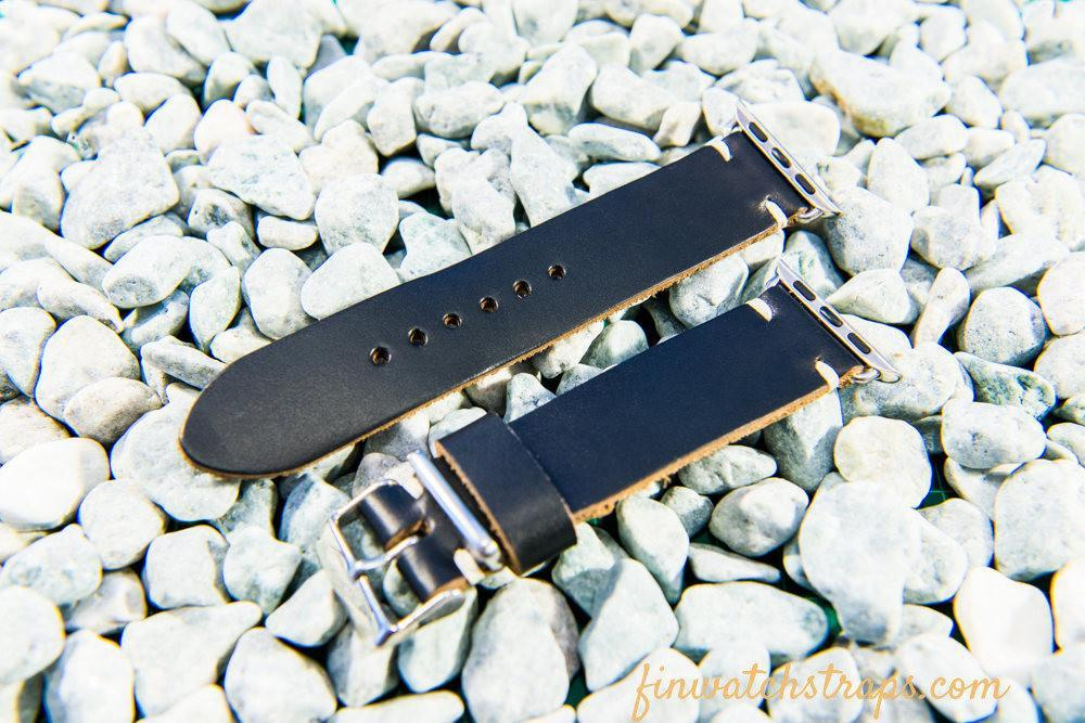 Apple watch leather band  Black Horween Chromexcel 38mm, 42mm. - finwatchstraps