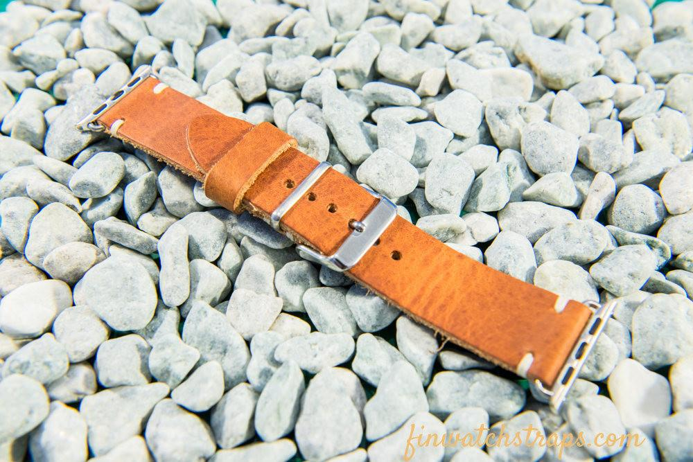 Apple Watch band Horween Derby English Tan 38mm, 42 mm. - finwatchstraps