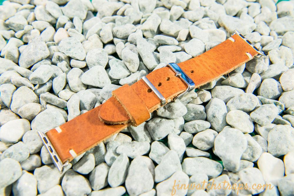 Apple Watch series 2,3,4,5 leather watch  band. Horween Derby English Tan 40 mm, 44 mm.