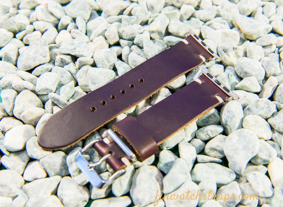 Apple Watch band 38mm / 42mm, Burgundy Horween Chromexcel pull-up leather - finwatchstraps