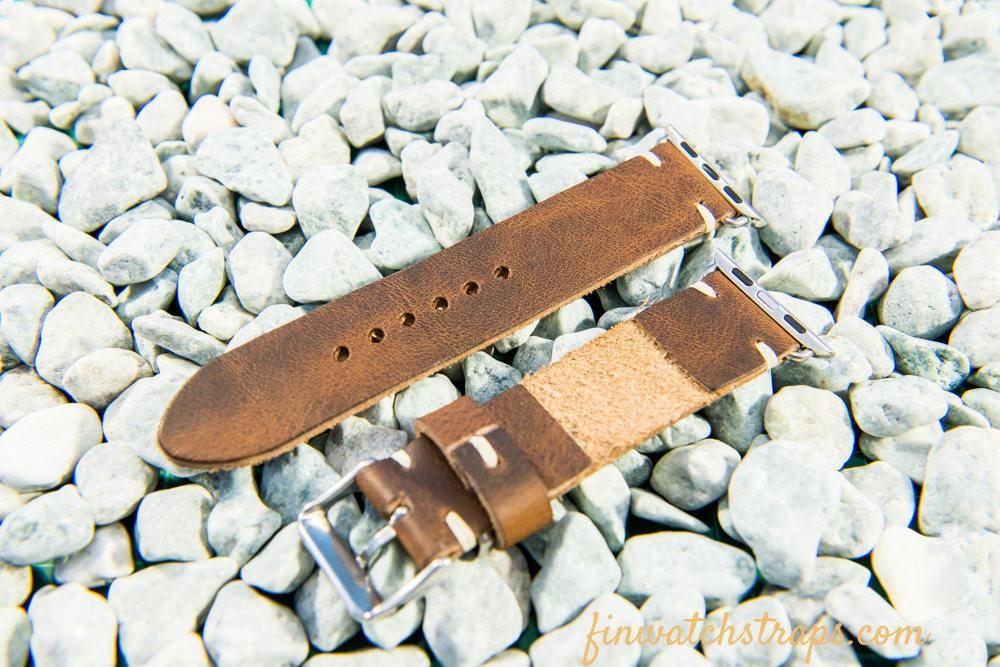 Apple Watch band Horween Derby Nut Brown 38mm, 42 mm. - finwatchstraps