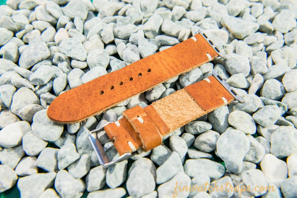 Apple Watch series 2,3,4,5 leather watch  band. Horween Derby English Tan 40 mm, 44 mm. - finwatchstraps