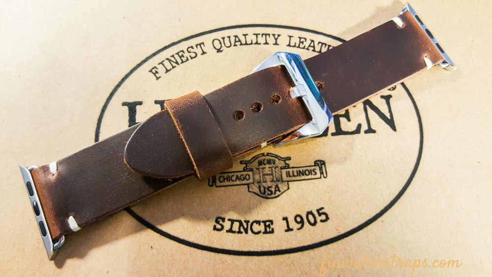 Apple Watch band Horween Phantom Waterproof  38mm, 42mm, Brown color. - finwatchstraps