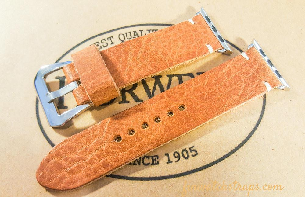 Apple Watch band Horween Derby English Tan Leather 38mm, 42mm.