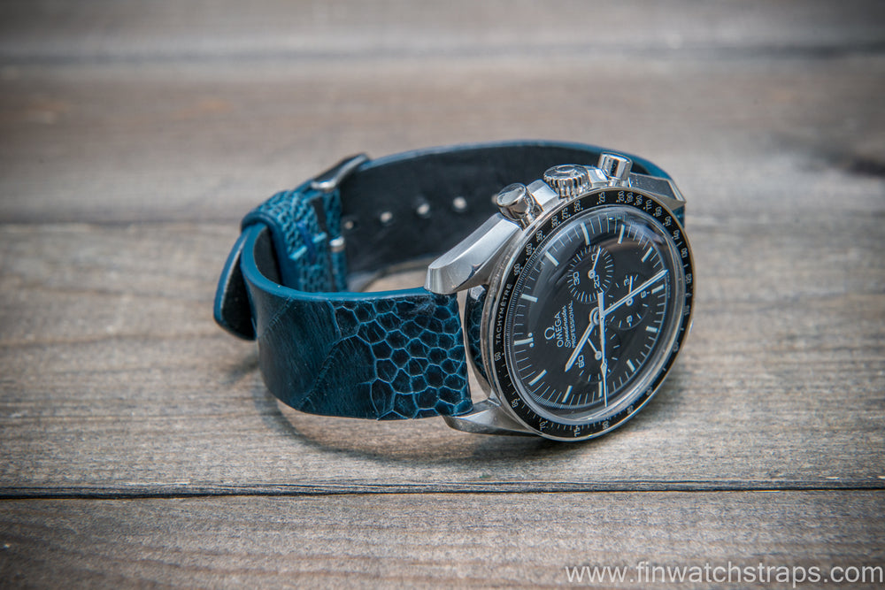 Ostrich legs leather watch strap, Glazed Cobalt color, handmade in Finland, 10-26 mm - finwatchstraps